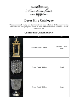 Decor Hire Catalogue