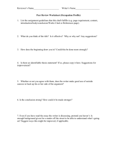 Peer Review Worksheet (Occupation Profile)