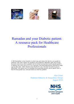 Ramadan and your Diabetic patient: A resource pack for Healthcare