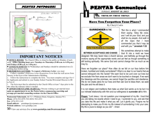 important notices - Pentecostal Tabernacle