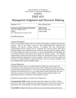 Managerial Judgment and Decision Making