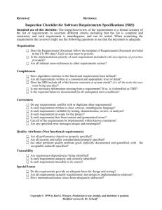 General review requirement sheet for the client