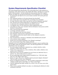 Software Requirements Specification Checklist