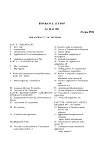 Mauritius Laws 1996 Vol 3 INSURANCE ACT 1987 Act 20 of 1987