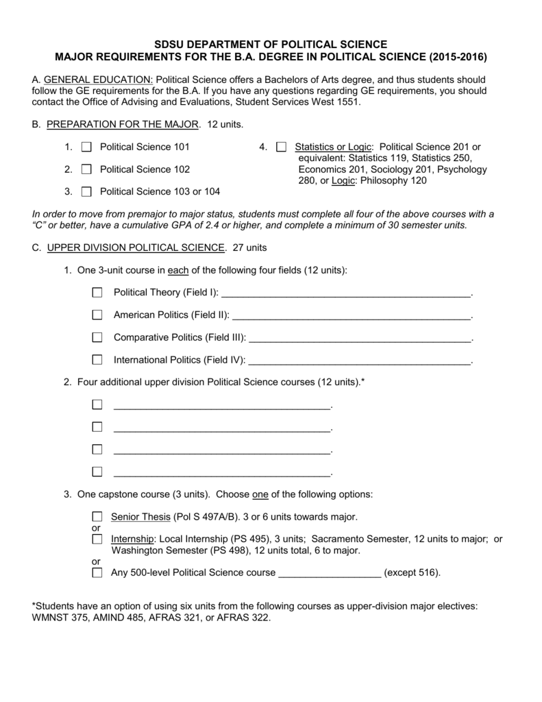major requirements worksheet department of political science. Black Bedroom Furniture Sets. Home Design Ideas