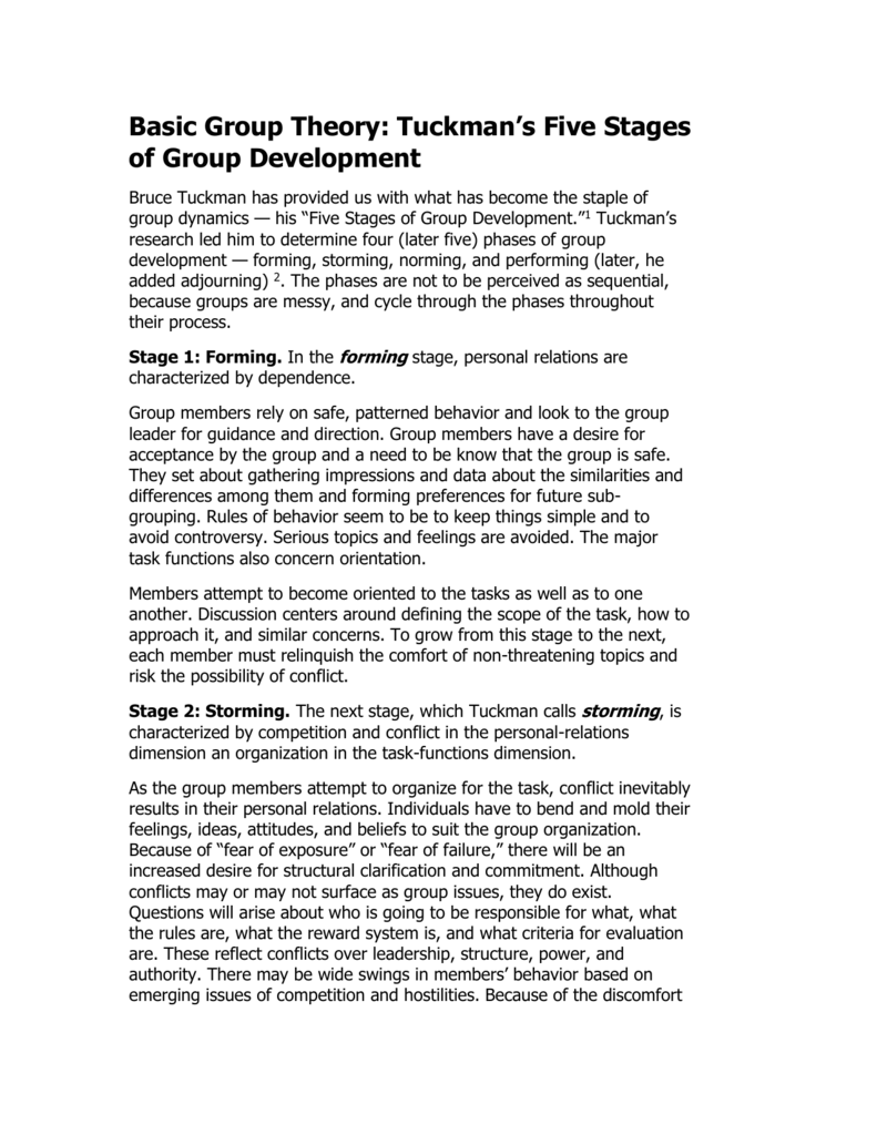what are the five stages of group development