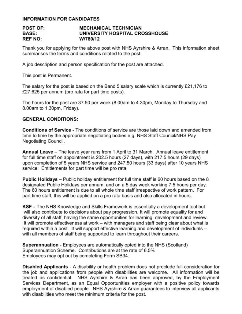 job description - NHS Scotland Recruitment