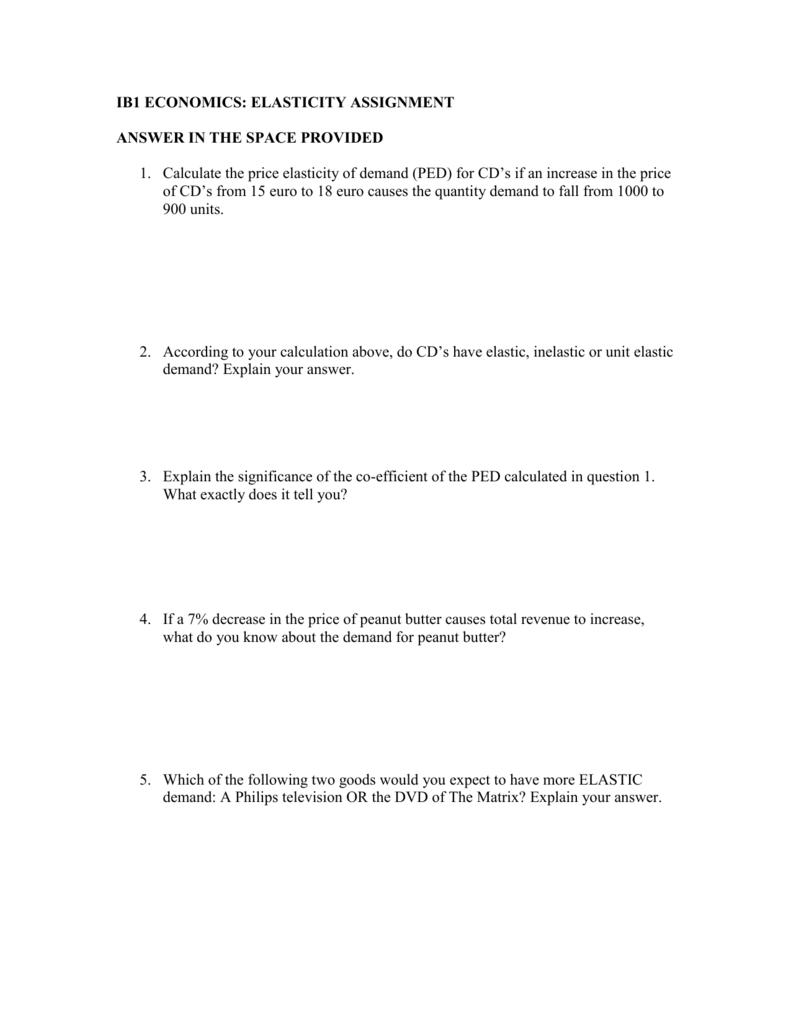 Microeconomics Elasticity Assignment Uwcmaastricht Econ