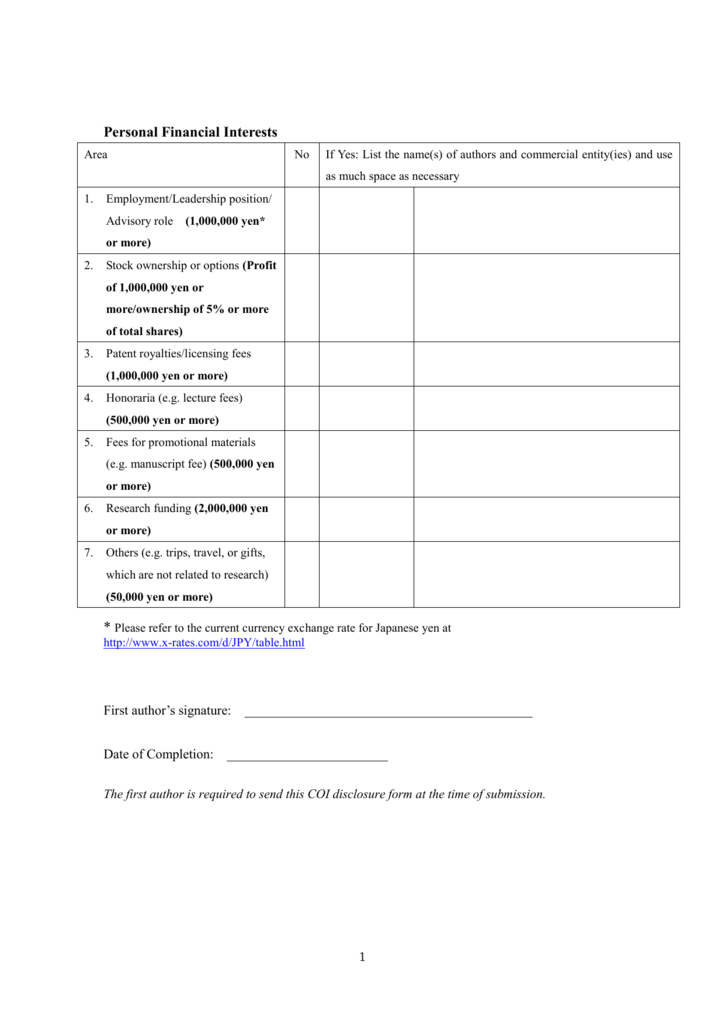 Coi Disclosure Form Word