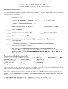 (Company Study) Project Criteria Sheet