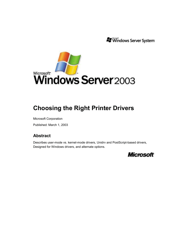 MICROSOFT UNIDRV PRINTER DRIVER FOR WINDOWS 7