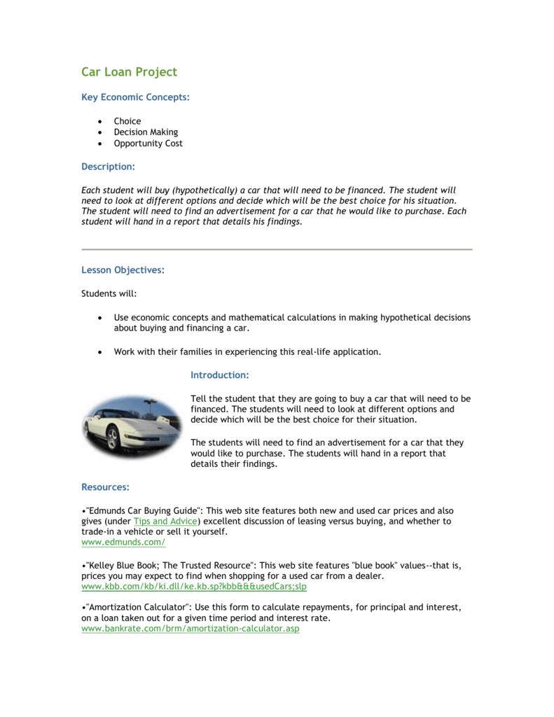 Car Loan Interest Calculator Edmunds >> Car Loan Project Cory