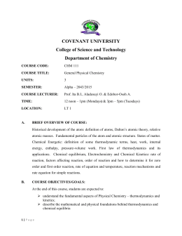 COVENANT UNIVERSITY College of Science and Technology