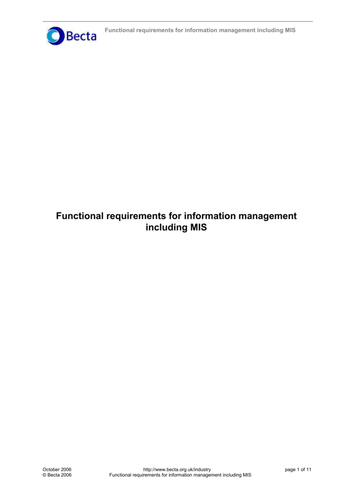 Functional requirements for information management