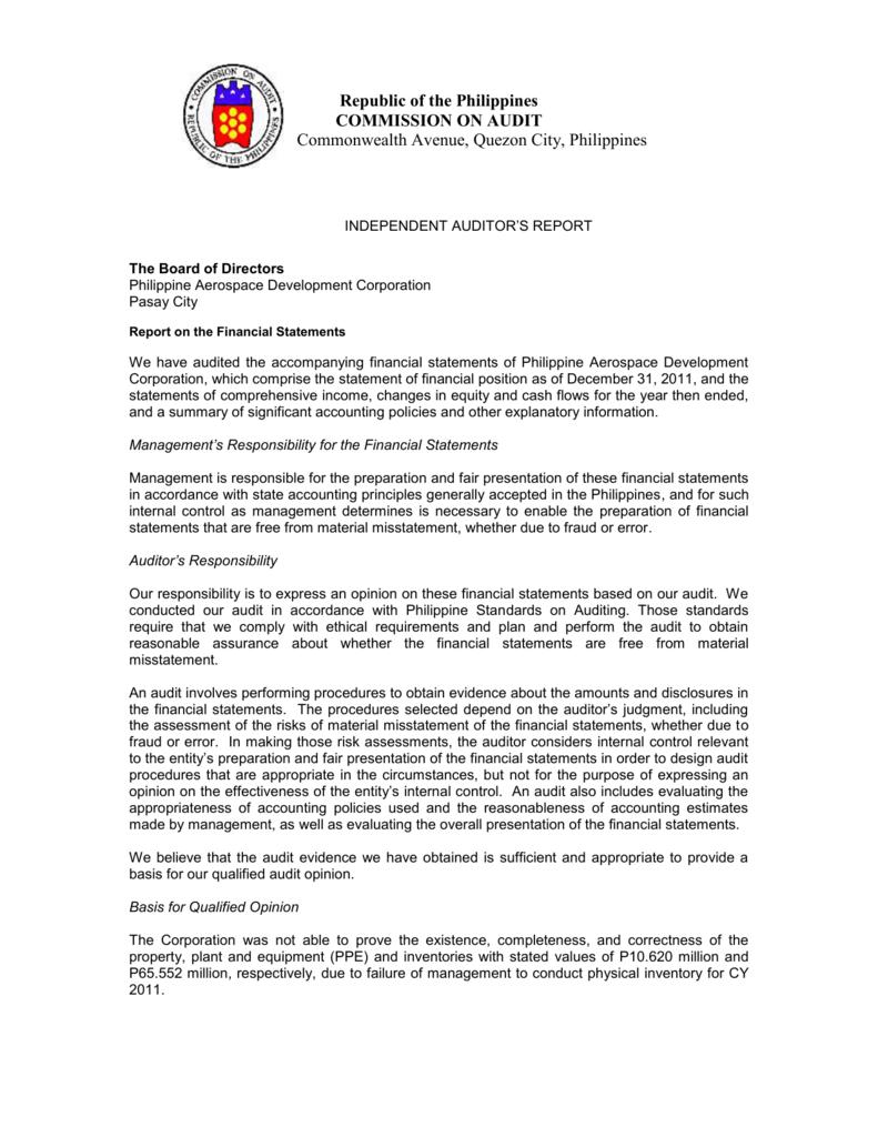 Independent auditors report philippine aerospace development altavistaventures Choice Image
