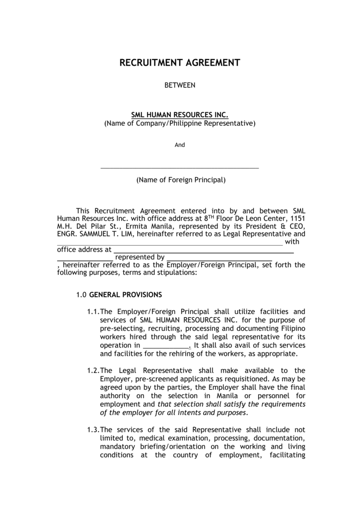 Recruitment Agreement between SML and the Employer