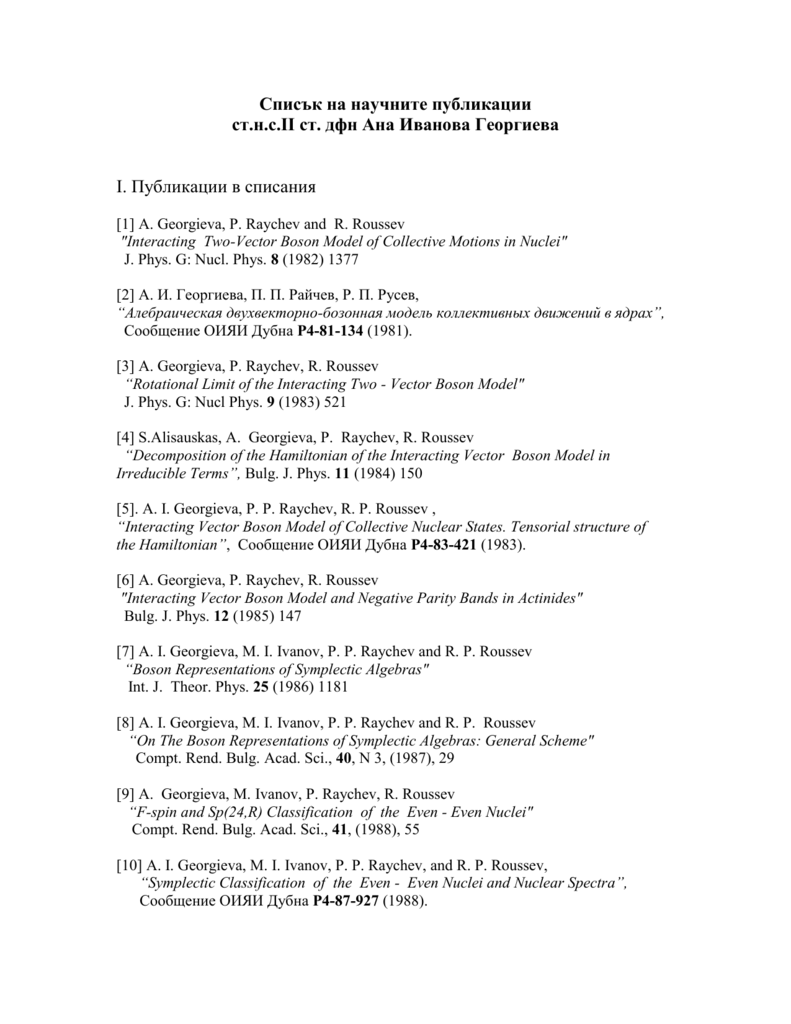 List Of Selected Publications