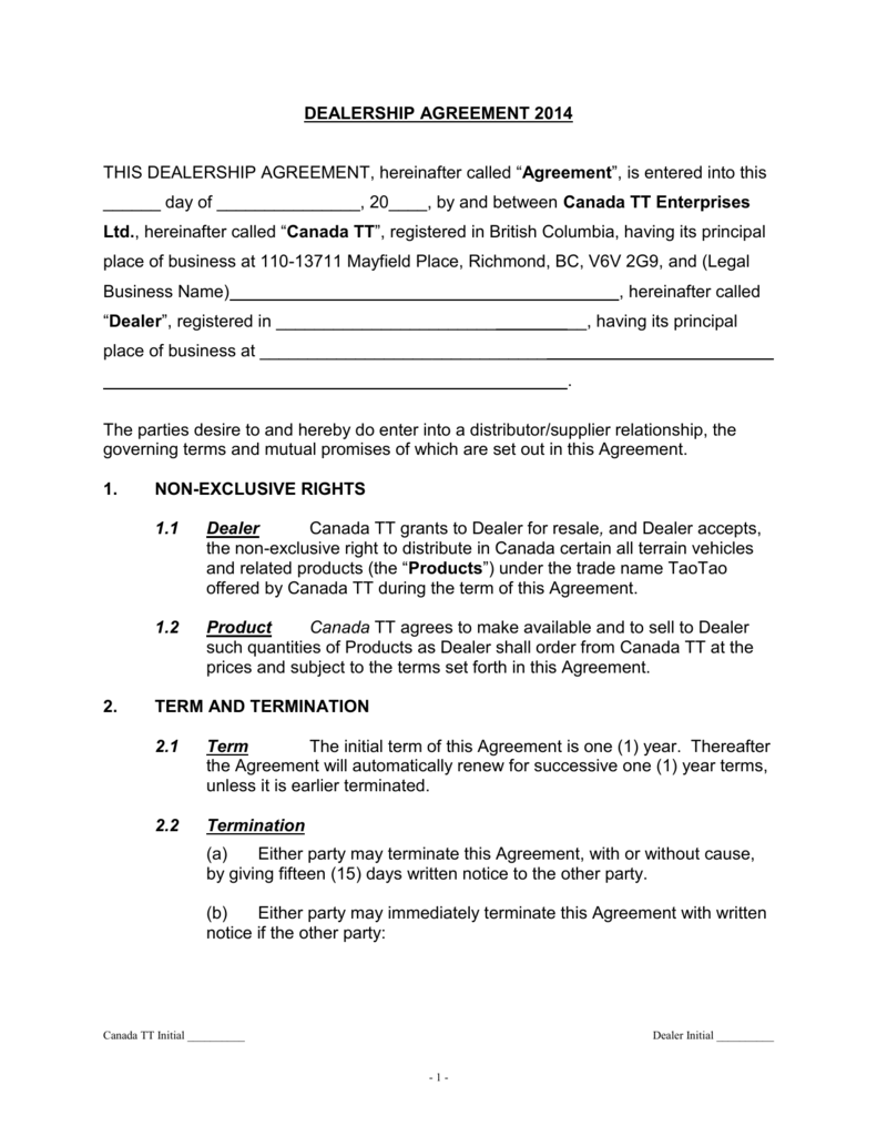 Dealership Agreement   Termination Without Cause
