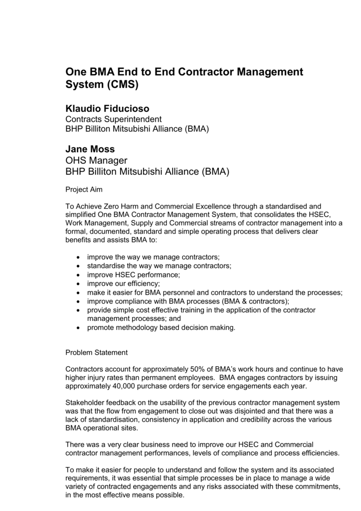 One Bma End To End Contractor Management System Doc 82kb