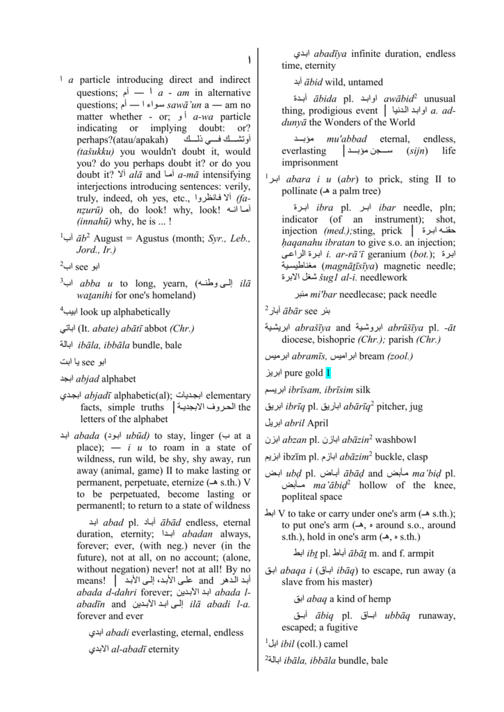 a dictionary of modern written arabic