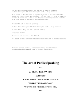 The Project Gutenberg EBook of The Art of Public Speaking