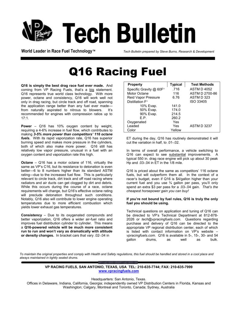 What Octane Is Racing Fuel >> Tech Bulletin Vp Racing Fuels