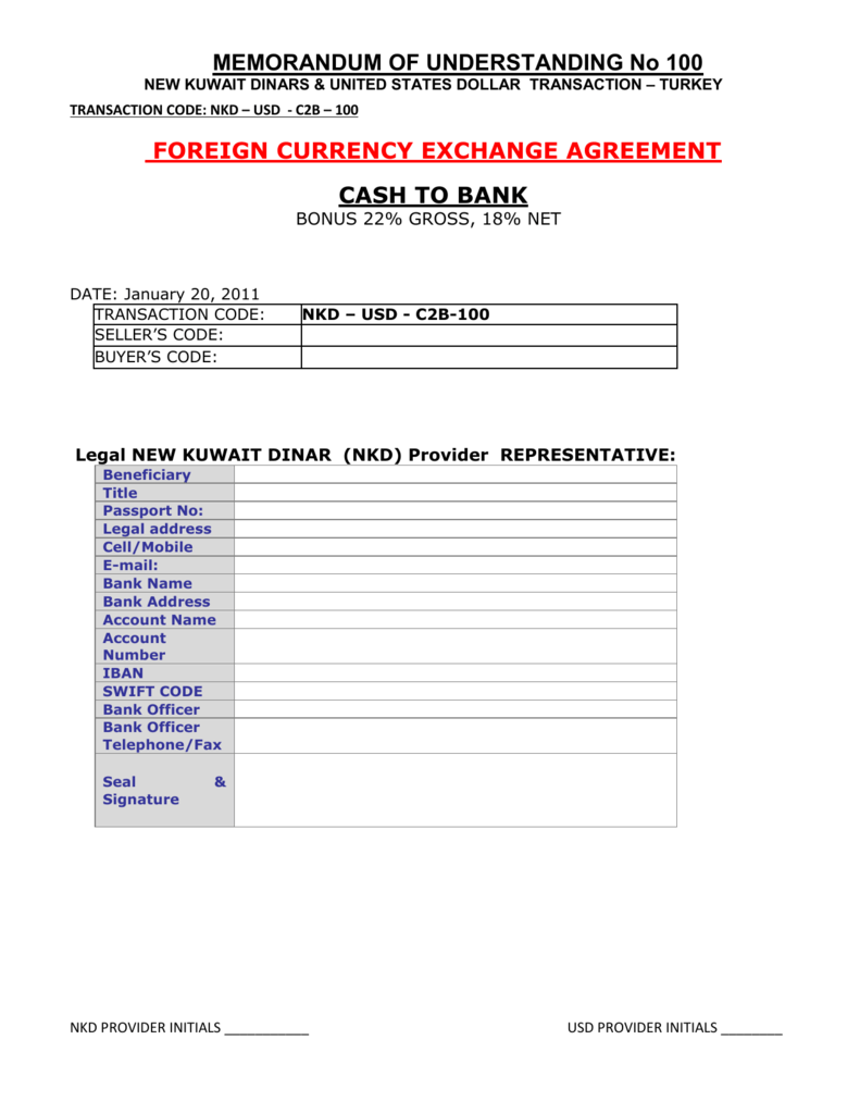 Foreign Currency Exchange Agreement
