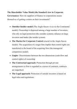 The Shareholder Value Model (the Standard view in Corporate