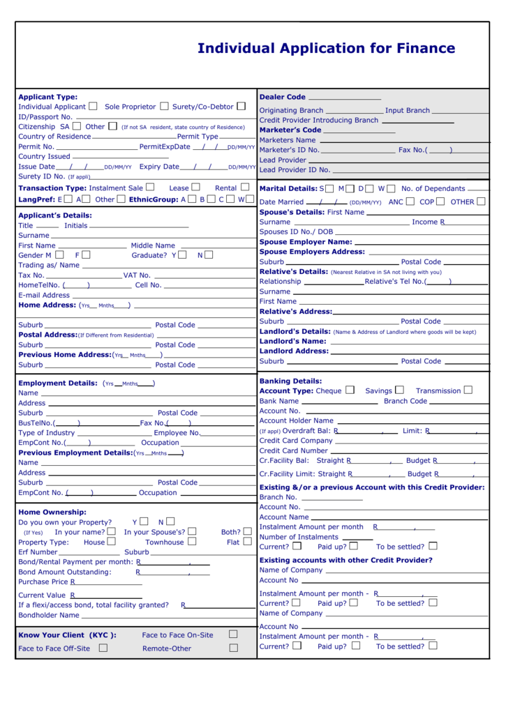 Application Form for Individuals (Word document)