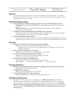 Curriculum Vitae - Central Michigan University