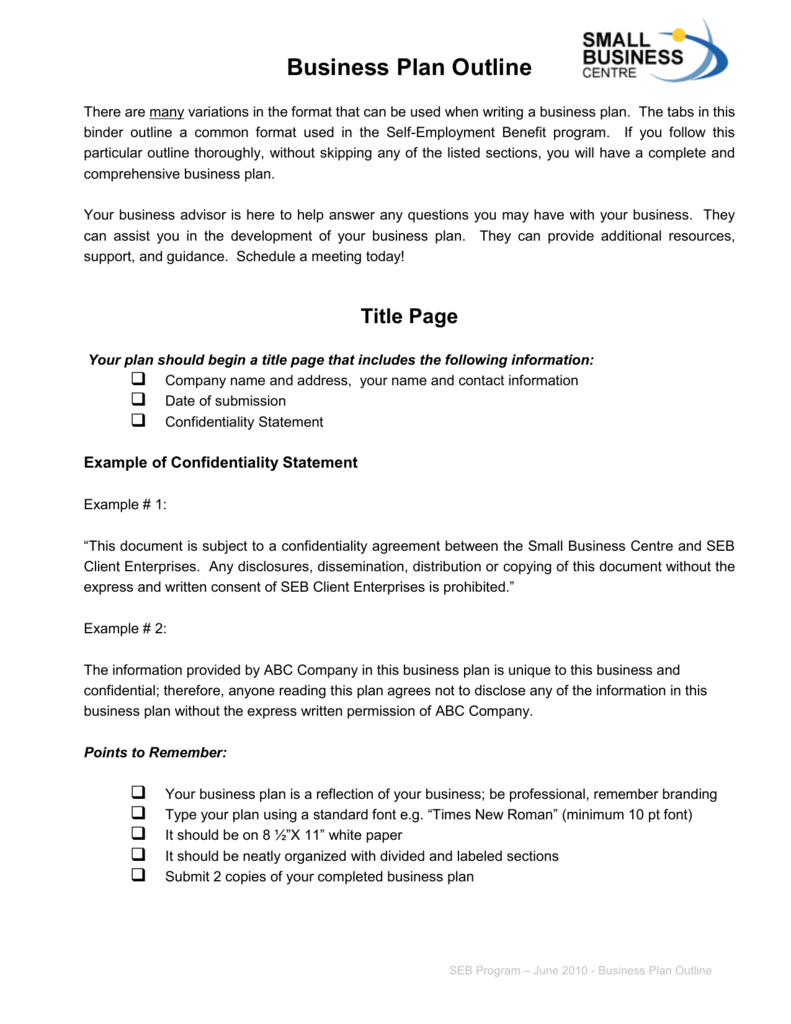 Sample one-page business plan template self employment.