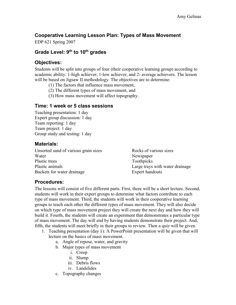 worksheet Mass Movement Worksheet cooperative learning lesson plan types of mass movement