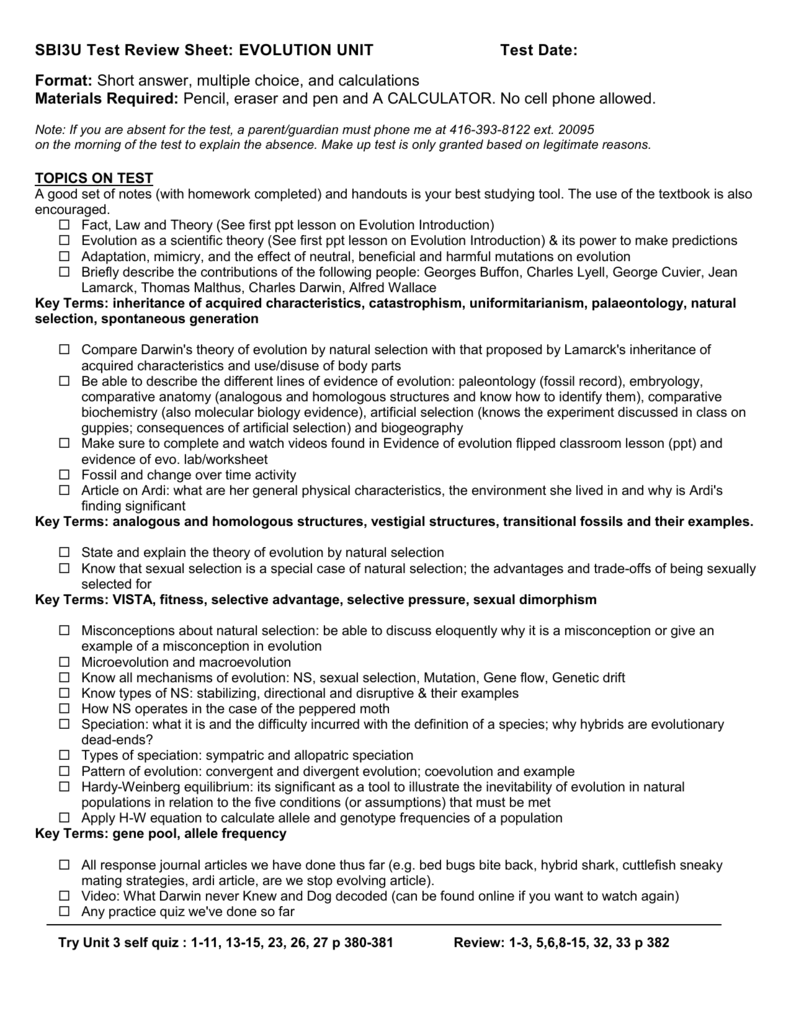 Sbi3u Test Review Sheet Genetic Unit