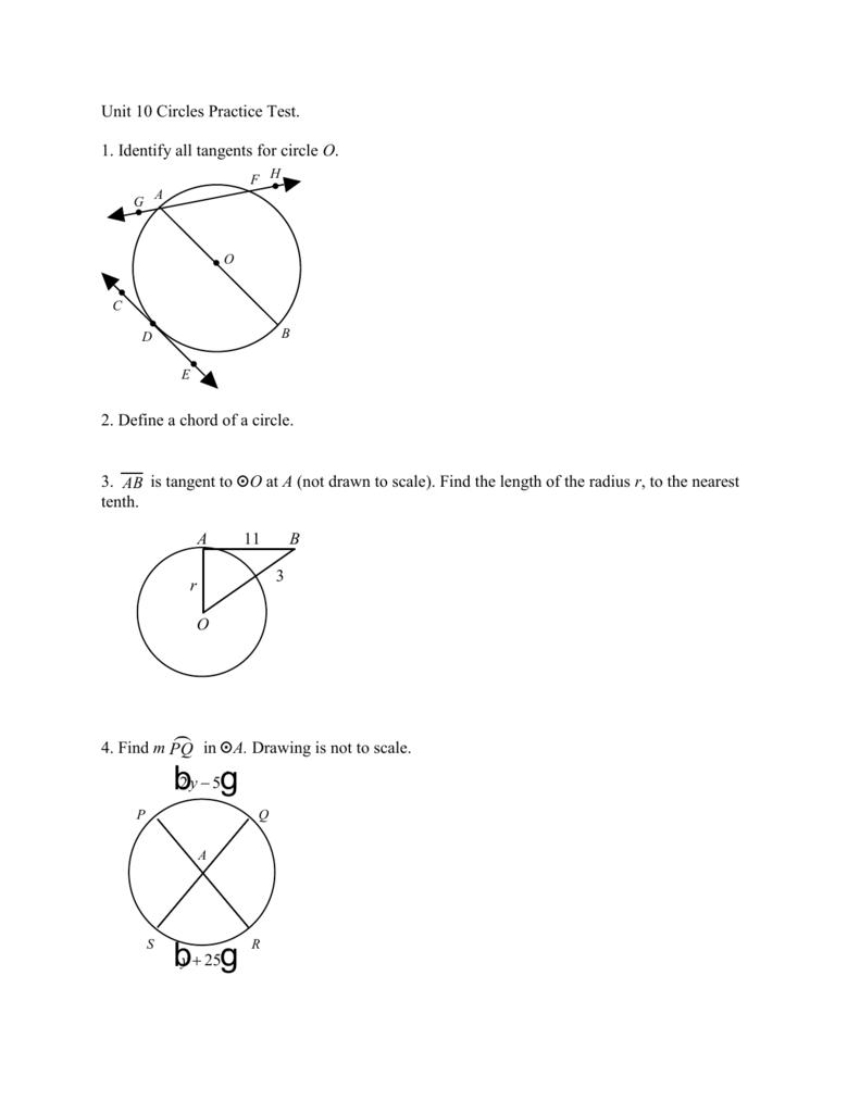 Unit 10 Circles Practice Test