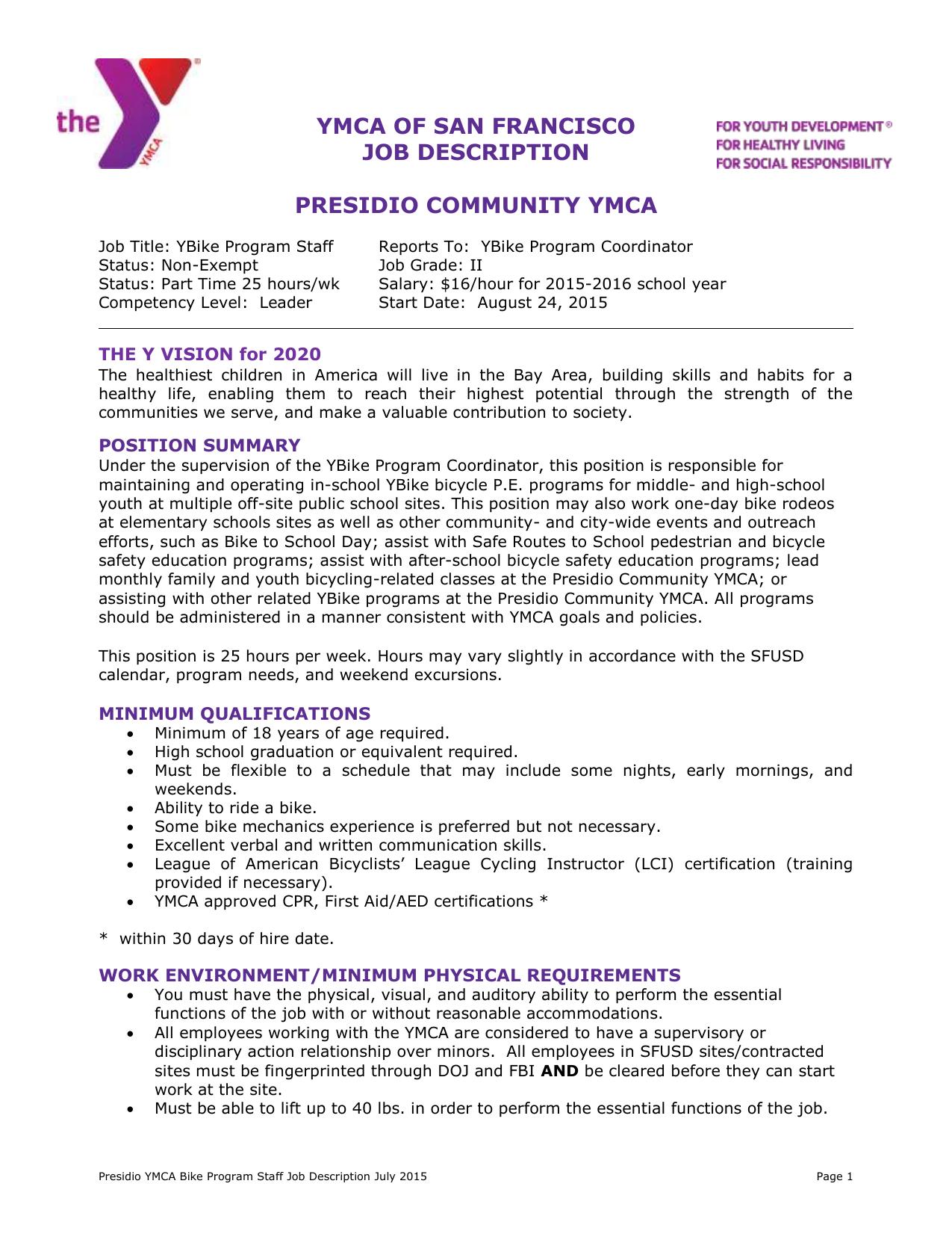 Sfusd Calendar 2020 YBike Program Staff Job Description – Daytime – 2015