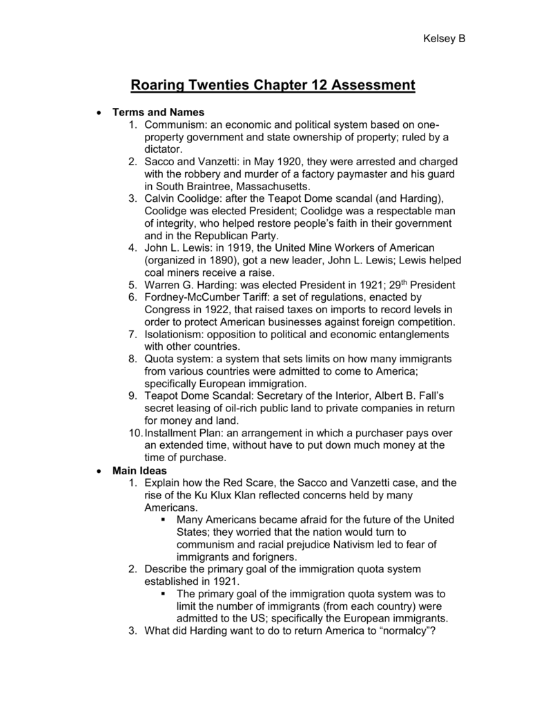 Chapter 20 Section 2 The Harding Presidency Worksheet Answers
