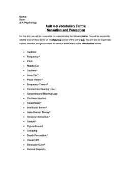 sensation and perception worksheet complete - Perception is the ...