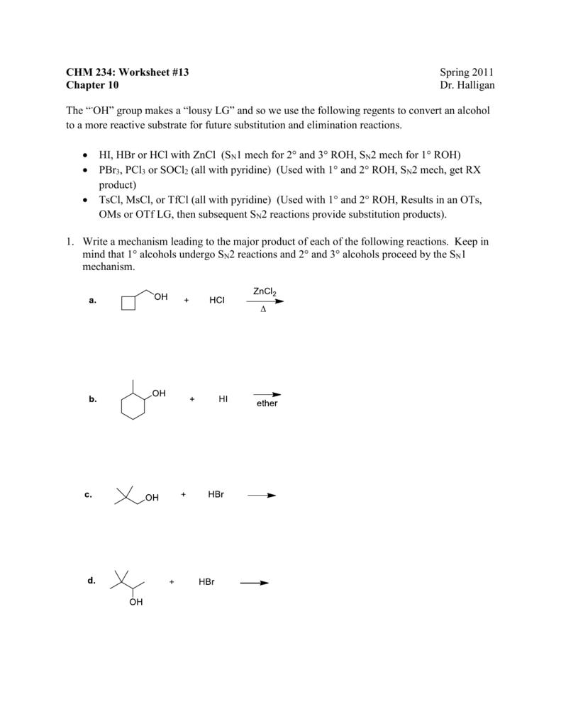 worksheet Substitution And Elimination Worksheet chm 234 worksheet 13 spring 2011 chapter 10 dr halligan the
