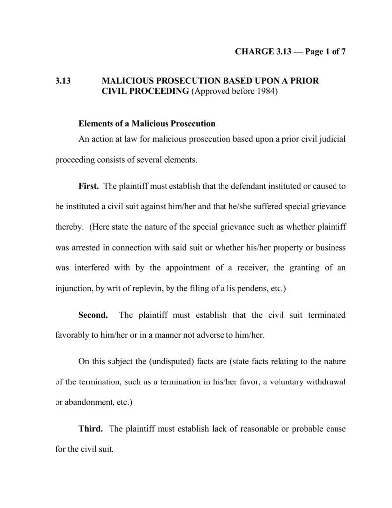 Elements of a Malicious Prosecution