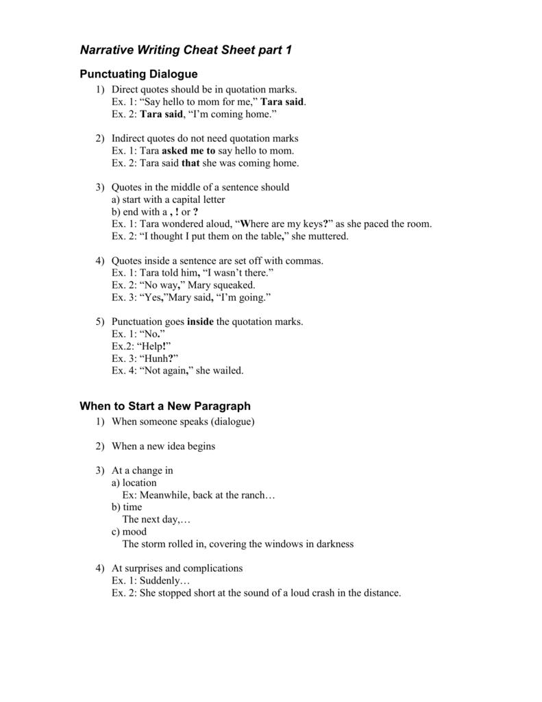 Narrative Writing Cheat Sheet part 1