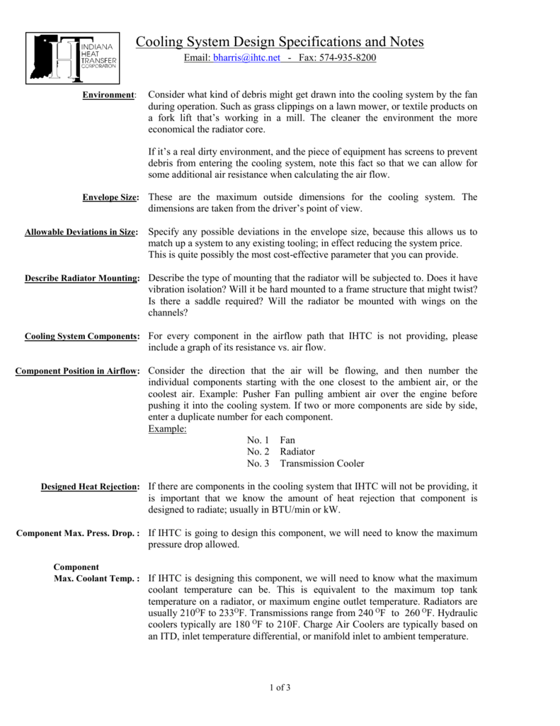Cooling System Design Specifications Notes