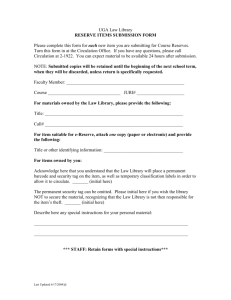 Reserve Forms - Student Manual