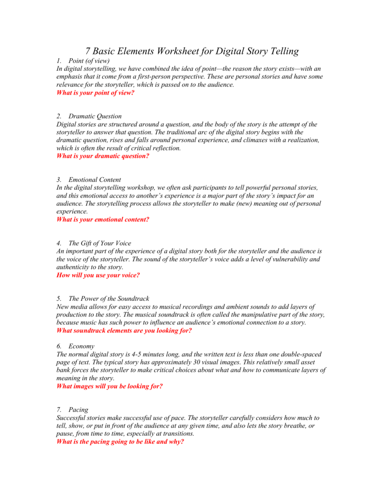 7 Basic Elements Worksheet for Digital Story