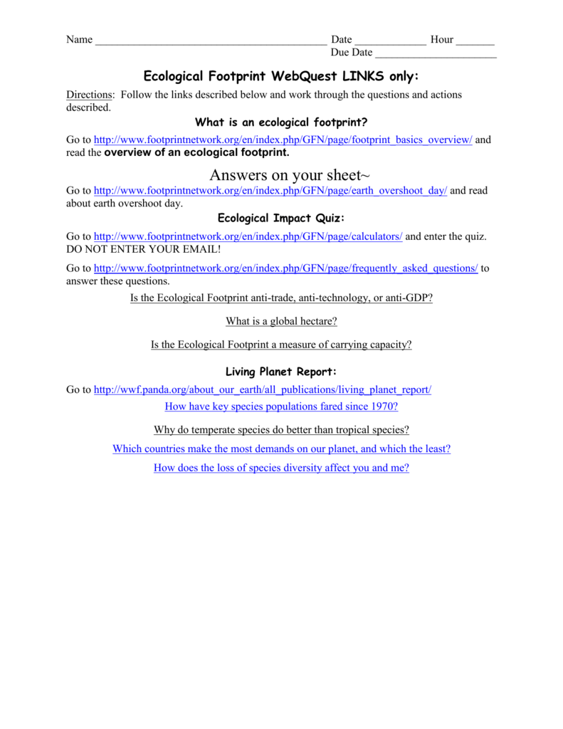 Worksheets Human Footprint Worksheet ecological footprint webquest