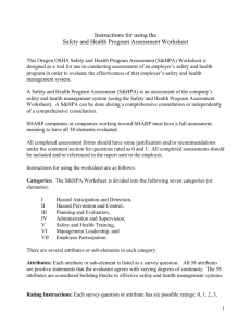 Safety and Health Assessment Worksheet