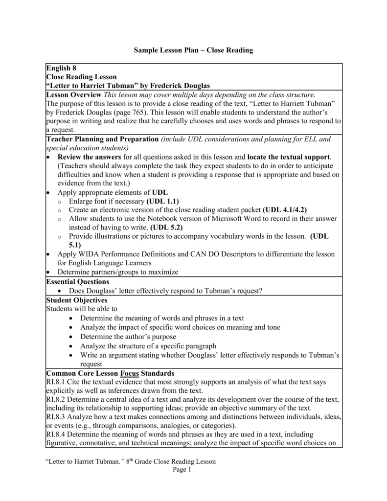 Sample Lesson Plan  Close Reading English  Close Reading