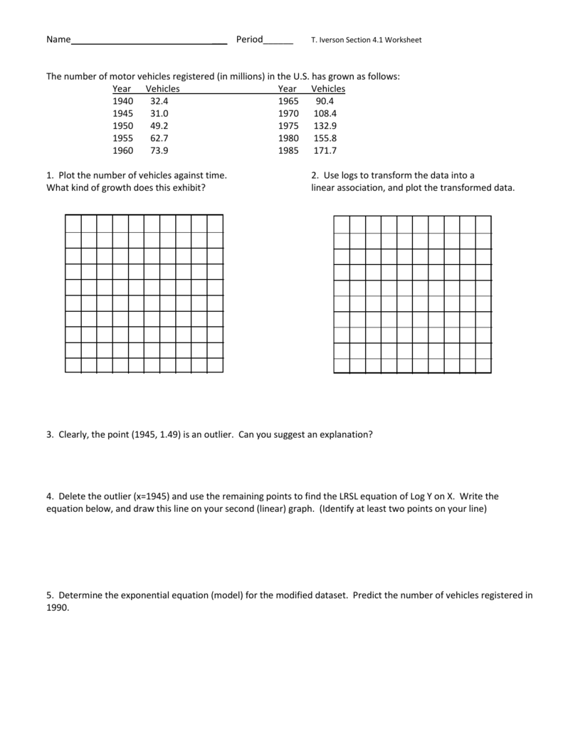 worksheet Exponential Regression Worksheet section 4 1 worksheet with solutions 2014