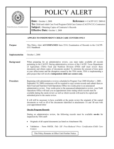 Policy Alert CACFP CCC 2009-01 Page 1 of 4 POLICY ALERT Date