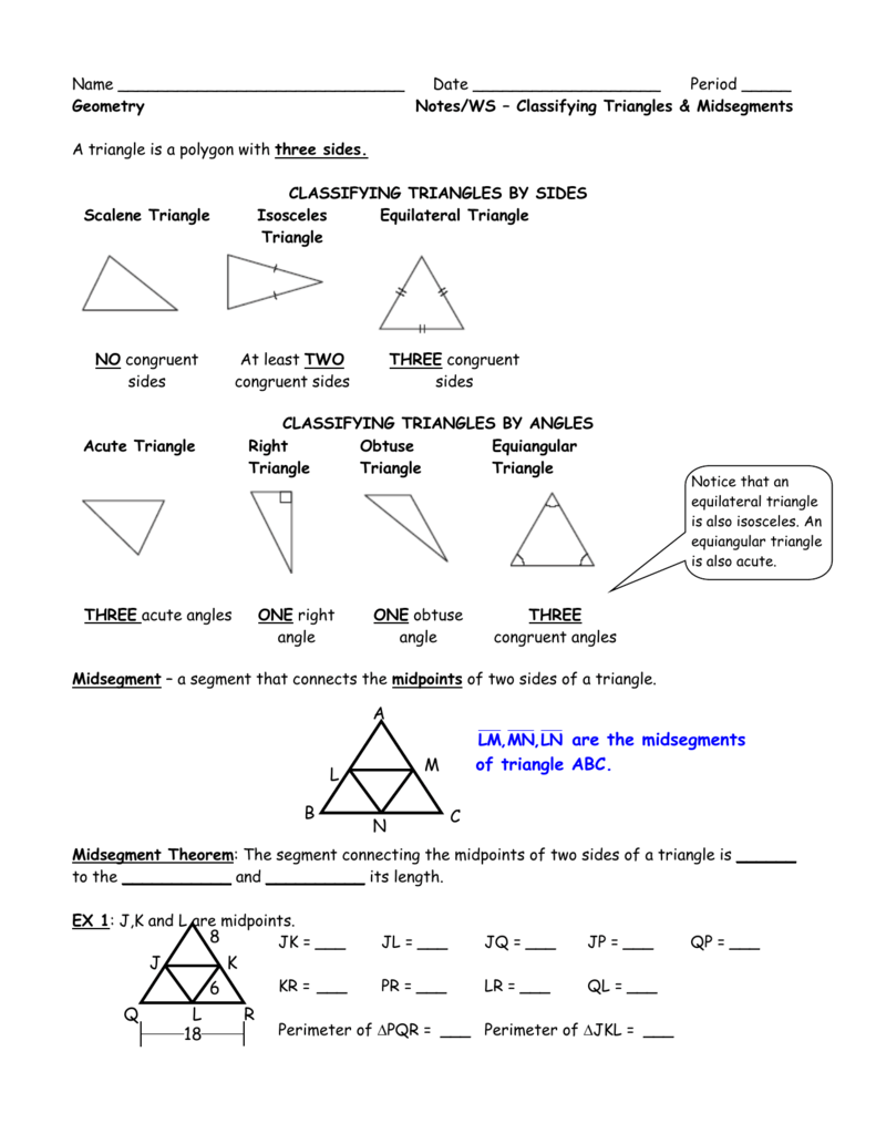 Worksheets Classifying Triangles Worksheet unit 2 intro worksheet classifying triangles and midsegment