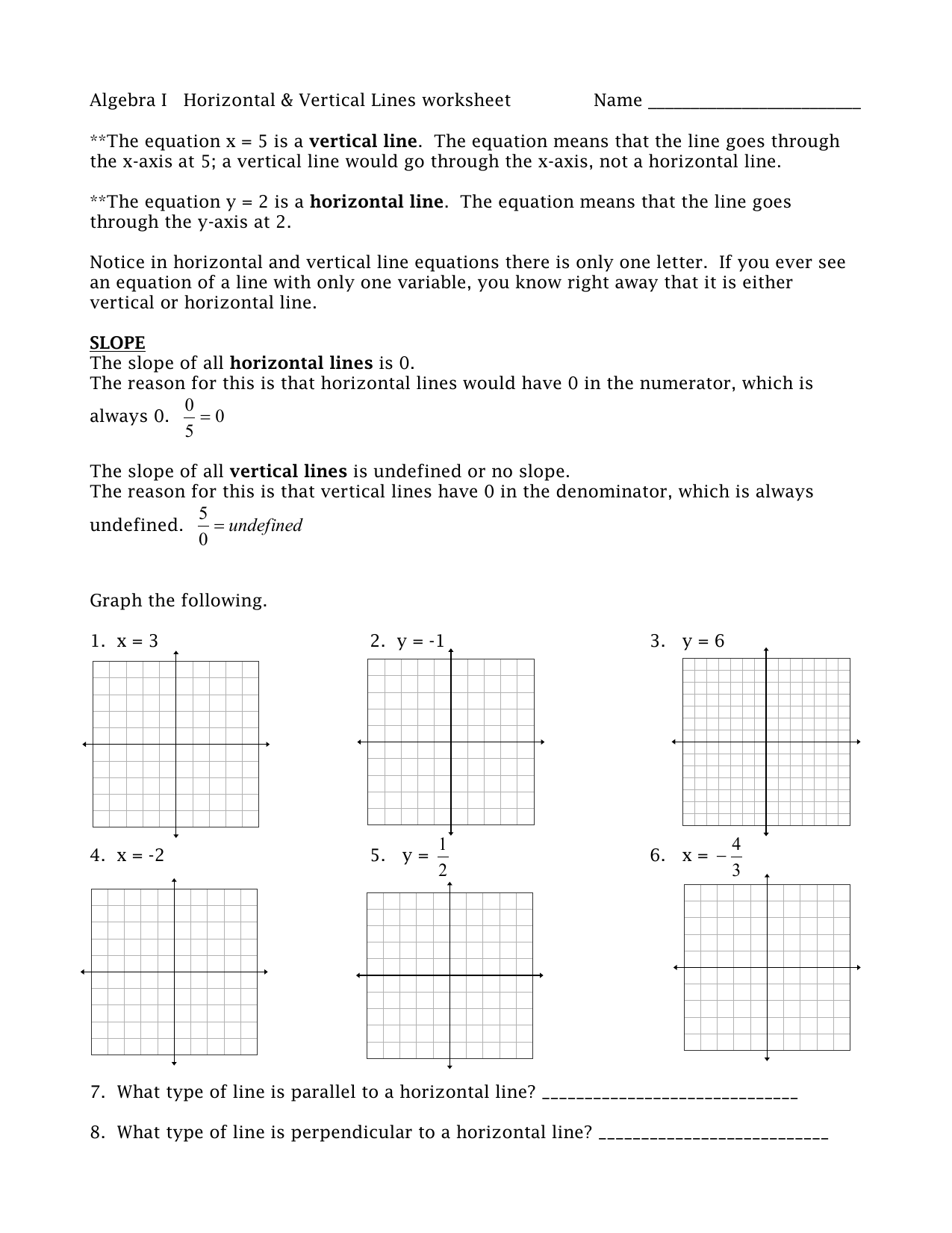 Graphing Horizontal and Vertical Lines Worksheet | Problems ...